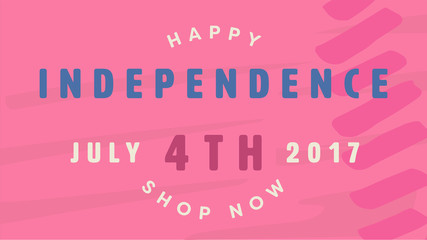 Vector of greeting card with fourth of july message