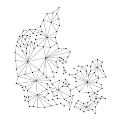 Denmark map of polygonal mosaic lines, rays and dots vector illustration.