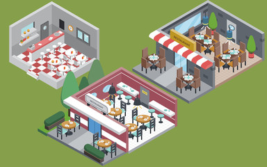 Collection of isolated Isometric restaurant interior in different styles