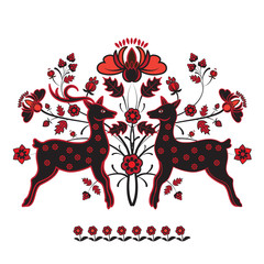 Folk ornament with two deer in red tones
