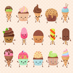 Funny vector cupcake and ice cream dessert characters