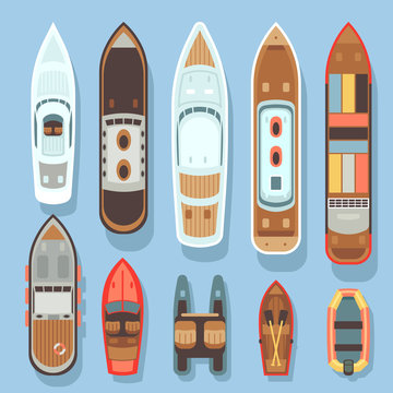 Top aerial view boat and ocean ships vector set