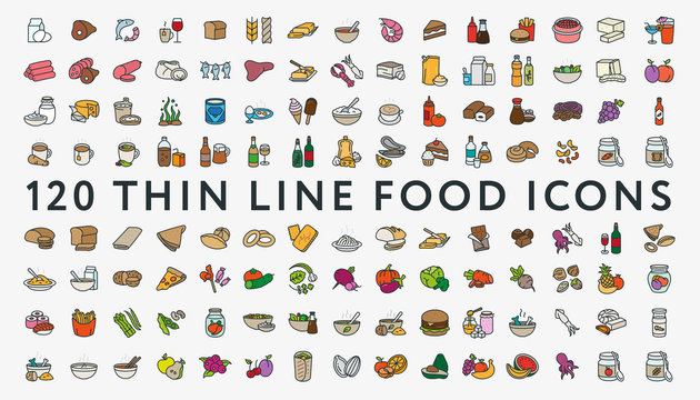 Big Set of 120 Thin Color Line Stroke Food Icons. Meat, milk, seafood, pasta, soup, bread, egg, cake, sweets, fruits, vegetables, drinks, nutrition, pizza, fish, sauce, cheese, butter, nuts, snacks