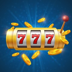 Winner gambling vector background with slot machine. Casino jackpot concept
