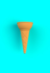 Sweet wafer cone on blue background, 3D rendering
