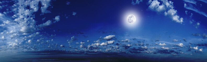 The night sky, the moon shines, the moonlit night