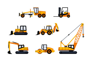 Construction Vehicles - modern vector icon set