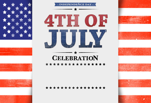 Flyer template, invitation, 4th of July, stars and stripes, USA Flag, background, blank space, copy space, white background.