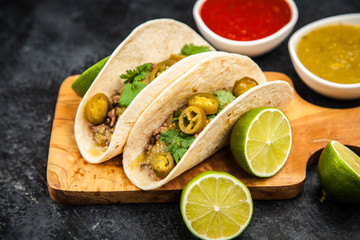 Mexican tacos with beef