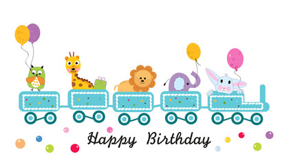 Happy birthday train with animals