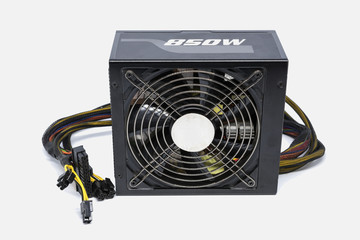Computer power supply fan 850 watt with cable for ATX full tower case isolated on white background