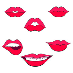 Woman's lip gestures set 2