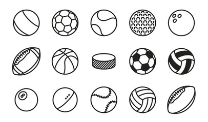 Sports Balls Minimal Flat Line Vector Icon Set. Soccer, Football, Tennis, Golf, Bowling, Basketball, Hockey, Volleyball, Rugby, Pool, Baseball, Ping Pong