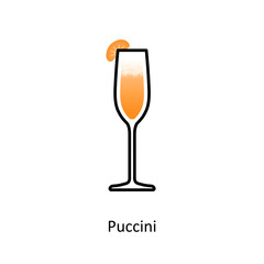 Puccini cocktail icon in flat style
