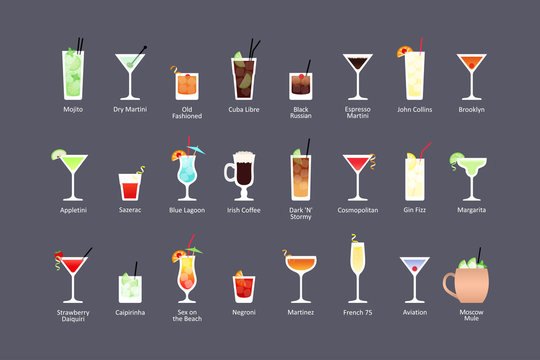 Most popular alcoholic cocktails part 1, icons set in flat style on dark background