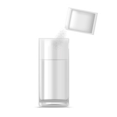 Realistic Glass of Water and Medicine Dose of Powder. Vector