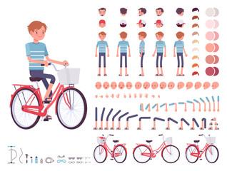Young man cycling city bike. Character creation set