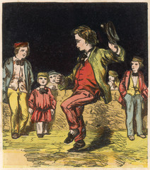 Poster Superheroes Dancing a Hornpipe. Date: 1867