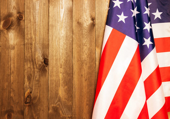 4th of July, the US Independence Day, place to advertise, wood background, American flag