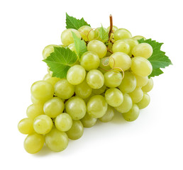 Grape. Green grape. Grape with leaves isolated on white. With clipping path. Full depth of field.
