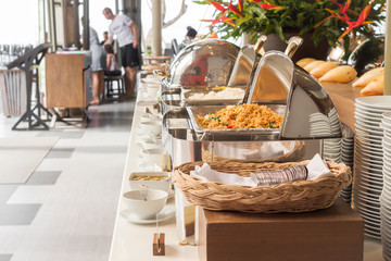 Line catering buffet food in restaurant