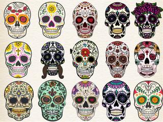 Trendy sugar skulls set with skulls in different styles Fototapete