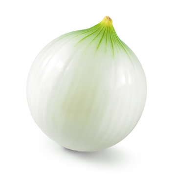 Onion. Fresh raw peeled onion isolated on white background. With clipping path.