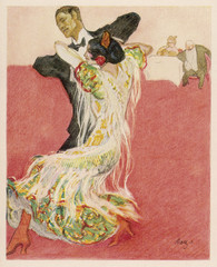 Couple dancing two step dance. Date: 1914