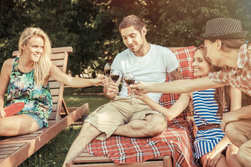 Young people toasting with red wine outdoors