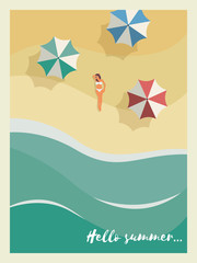Summer holiday or party poster or postcard template with sunny sandy beach, sexy woman in bikini, sea with waves and umbrellas.