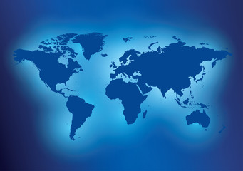 blue background with map of the world - vector travel template