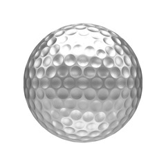 3D rendering Isolated metal golf Ball with white background