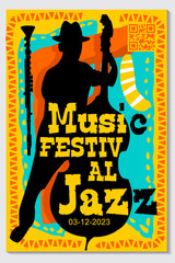 Music poster for jazz band live festival with music instruments. Colorful flat modern concert cover template for vinile with cello and music notes isolated vector illustration design