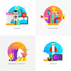 Flat Designed Concepts - Career, Teamwork, Business strategy and Startup