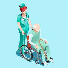 Senior female nurse pushing elderly person patient in wheelchair. Clinical hospital interior room infographic isolated flat 3d isometric vector illustration.