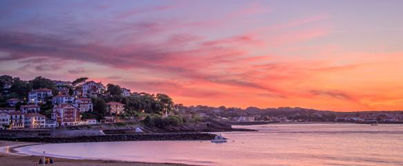 Panorama of Saint Jean de Luz beach at sunset, France