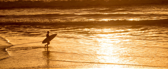 Wall Mural - Silhouette of a surfer at sunset on the atlantic ocean in  Lacanau France, panorama and surf concept