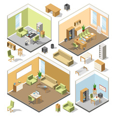 Different isometric workspaces with sectional furniture. Vector 3d architectural plan