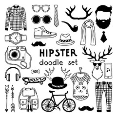 Vector doodle set with different hipster style elements