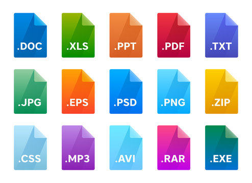 File type icons. Material design and long shadow style.