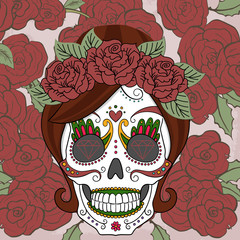 Women sugar skull with roses background vector