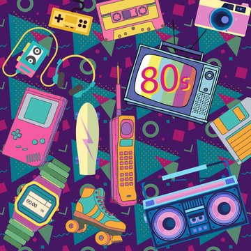Eighties 80s isolated objects in retro style