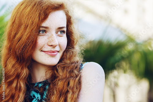 Outdoor Close Portrait Young Beautiful Happy
