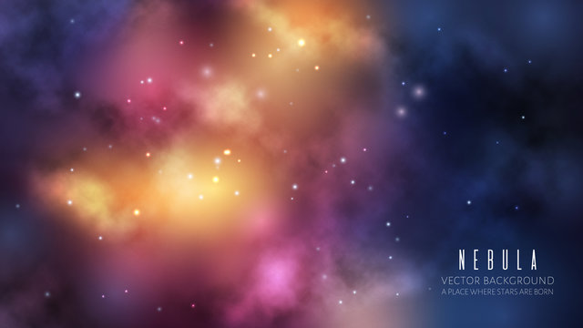 Vector space background with dark blue nebula and bright stars. Fantasy scientific astronomical illustration.