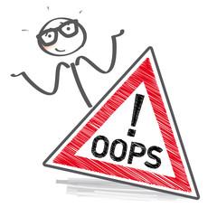oops - Strichmännchen mit Schild entschuldigt sich