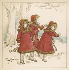 Three Girls in Snow 1900. Date: 1900