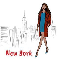 Woman walking in NY