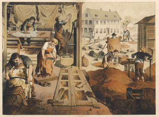Leather work and tannery. Date: 1875