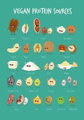 Vector illustration of vegan protein source. Cartoon vegan food characters.