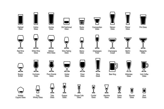Drink glasses with titles, black and white icons set